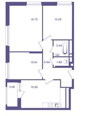 ЖК «Ты и Я», планировка 3-комнатной квартиры, 71.80 м²
