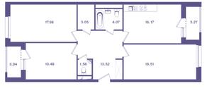 ЖК «Ты и Я», планировка 3-комнатной квартиры, 91.50 м²