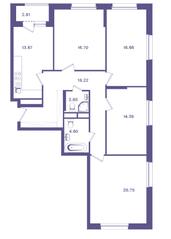 ЖК «Ты и Я», планировка 4-комнатной квартиры, 109.10 м²
