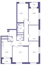 ЖК «Ты и Я», планировка 5-комнатной квартиры, 113.80 м²