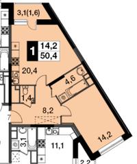 МФК UP-квартал «Скандинавский», планировка 1-комнатной квартиры, 50.40 м²