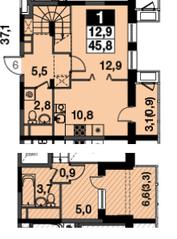 МФК UP-квартал «Скандинавский», планировка 1-комнатной квартиры, 45.80 м²
