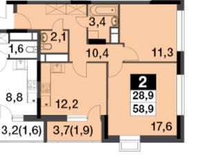 МФК UP-квартал «Скандинавский», планировка 2-комнатной квартиры, 58.90 м²