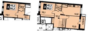 МФК UP-квартал «Скандинавский», планировка 3-комнатной квартиры, 86.20 м²