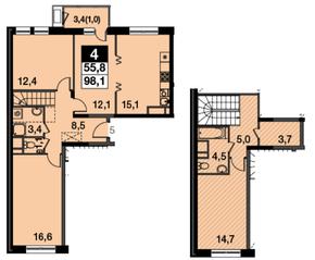 МФК UP-квартал «Скандинавский», планировка 4-комнатной квартиры, 98.10 м²