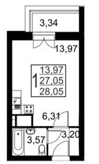 ЖК «Речной», планировка студии, 28.05 м²