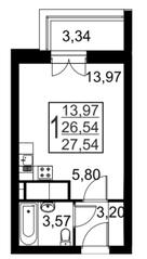 ЖК «Речной», планировка студии, 27.54 м²