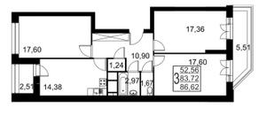ЖК «Речной», планировка 3-комнатной квартиры, 86.62 м²