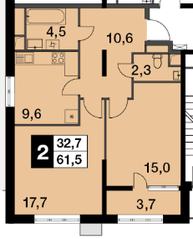 ЖК «Новогиреевский», планировка 2-комнатной квартиры, 61.60 м²
