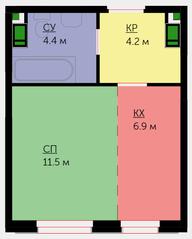 ЖК «Новая Звезда» (Газопровод), планировка студии, 27.00 м²