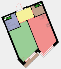 ЖК «Новая Звезда» (Газопровод), планировка 1-комнатной квартиры, 40.60 м²