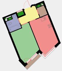 ЖК «Новая Звезда» (Газопровод), планировка 1-комнатной квартиры, 39.70 м²