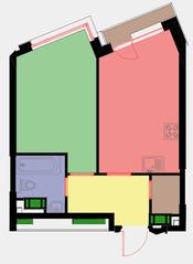 ЖК «Новая Звезда» (Газопровод), планировка 1-комнатной квартиры, 38.90 м²