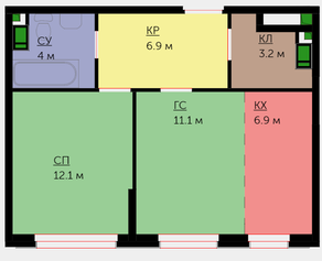ЖК «Новая Звезда» (Газопровод), планировка 2-комнатной квартиры, 44.20 м²