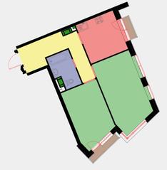 ЖК «Новая Звезда» (Газопровод), планировка 2-комнатной квартиры, 58.50 м²