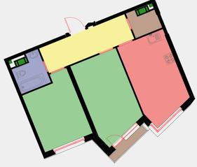 ЖК «Новая Звезда» (Газопровод), планировка 2-комнатной квартиры, 58.90 м²