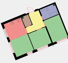 ЖК «Новая Звезда» (Газопровод), планировка 3-комнатной квартиры, 50.20 м²