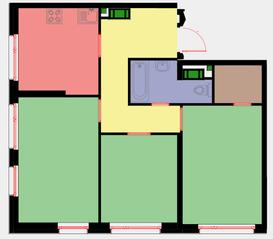 ЖК «Новая Звезда» (Газопровод), планировка 3-комнатной квартиры, 66.20 м²
