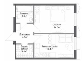 ЖК «Discovery», планировка 1-комнатной квартиры, 38.65 м²