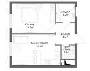 ЖК «Discovery», планировка 1-комнатной квартиры, 41.49 м²