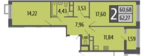 ЖК «Ривер Парк», планировка 2-комнатной квартиры, 62.27 м²