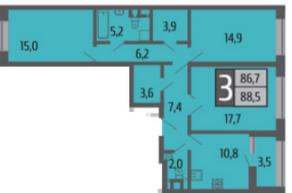 ЖК «Ривер Парк», планировка 3-комнатной квартиры, 88.50 м²