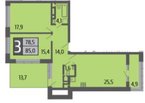 ЖК «Ривер Парк», планировка 3-комнатной квартиры, 85.00 м²