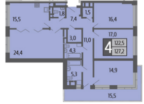 ЖК «Ривер Парк», планировка 4-комнатной квартиры, 127.20 м²