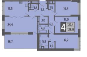 ЖК «Ривер Парк», планировка 4-комнатной квартиры, 128.00 м²