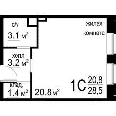 ЖК «Некрасовский» (Звенигород), планировка студии, 28.50 м²
