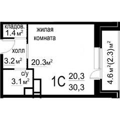 ЖК «Некрасовский» (Звенигород), планировка студии, 30.30 м²