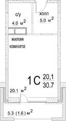 ЖК «Некрасовский» (Звенигород), планировка студии, 30.70 м²