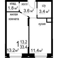 ЖК «Некрасовский» (Звенигород), планировка 1-комнатной квартиры, 33.40 м²