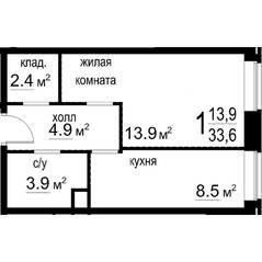 ЖК «Некрасовский» (Звенигород), планировка 1-комнатной квартиры, 33.60 м²