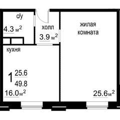 ЖК «Некрасовский» (Звенигород), планировка 1-комнатной квартиры, 49.80 м²