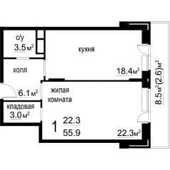 ЖК «Некрасовский» (Звенигород), планировка 1-комнатной квартиры, 55.90 м²