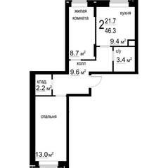 ЖК «Некрасовский» (Звенигород), планировка 2-комнатной квартиры, 46.30 м²