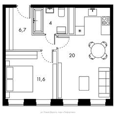 ЖК «Bauman House», планировка 1-комнатной квартиры, 42.30 м²