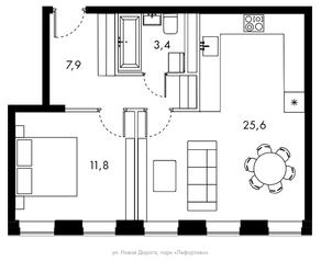 ЖК «Bauman House», планировка 1-комнатной квартиры, 48.70 м²