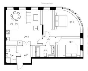 ЖК «Bauman House», планировка 3-комнатной квартиры, 79.80 м²