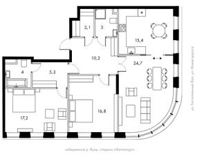 ЖК «Bauman House», планировка 3-комнатной квартиры, 99.60 м²
