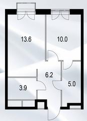 МФК «Дом №128», планировка 1-комнатной квартиры, 39.10 м²