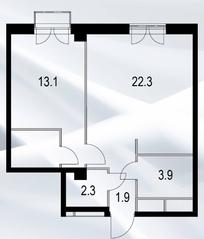 МФК «Дом №128», планировка 1-комнатной квартиры, 47.50 м²