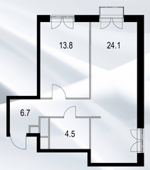 МФК «Дом №128», планировка 1-комнатной квартиры, 49.60 м²