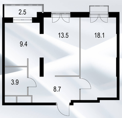МФК «Дом №128», планировка 2-комнатной квартиры, 53.30 м²