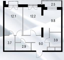 МФК «Дом №128», планировка 2-комнатной квартиры, 54.50 м²