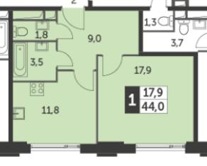 ЖК «Рихард», планировка 1-комнатной квартиры, 44.00 м²