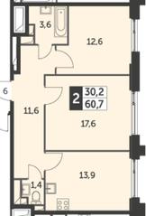 ЖК «Рихард», планировка 2-комнатной квартиры, 60.70 м²