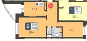 ЖК «Мой адрес в Зеленограде», планировка 2-комнатной квартиры, 53.00 м²