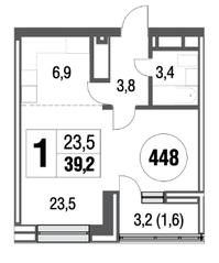 ЖК «Сиреневый парк», планировка студии, 39.20 м²